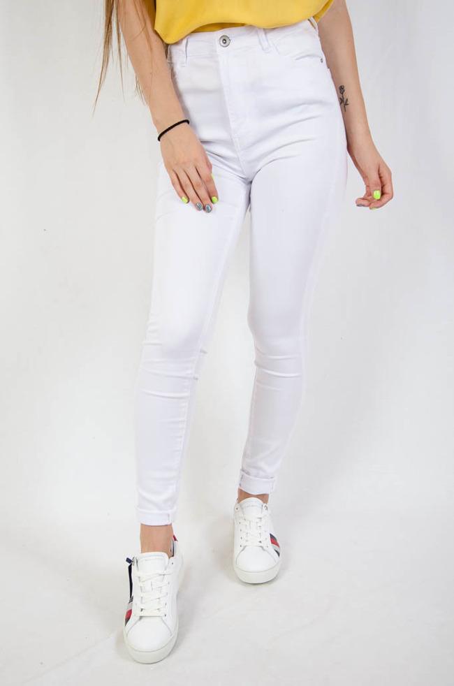 Biale Dopasowane Spodnie Z Wysokim Stanem Bialy Nowosci Kolekcja Spodnie Spodnie Biale Olika