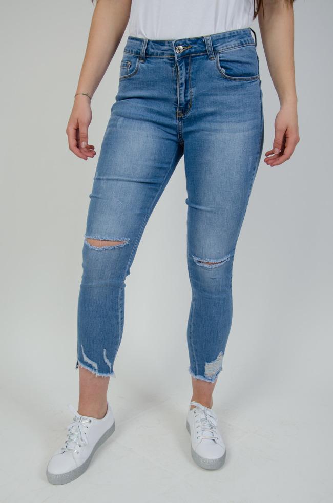 dc4849b6c7c4 Jasne spodnie jeansowe z dziurami