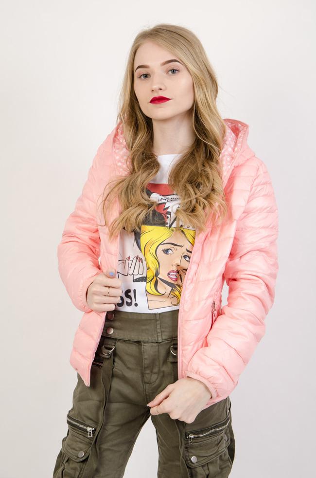 2c8877512752 Różowa dwustronna pikowana kurtka różowy