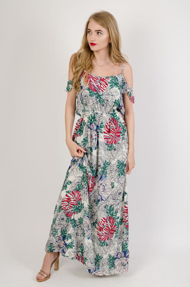 bdfc7eb49e Biała długa sukienka w kwiaty