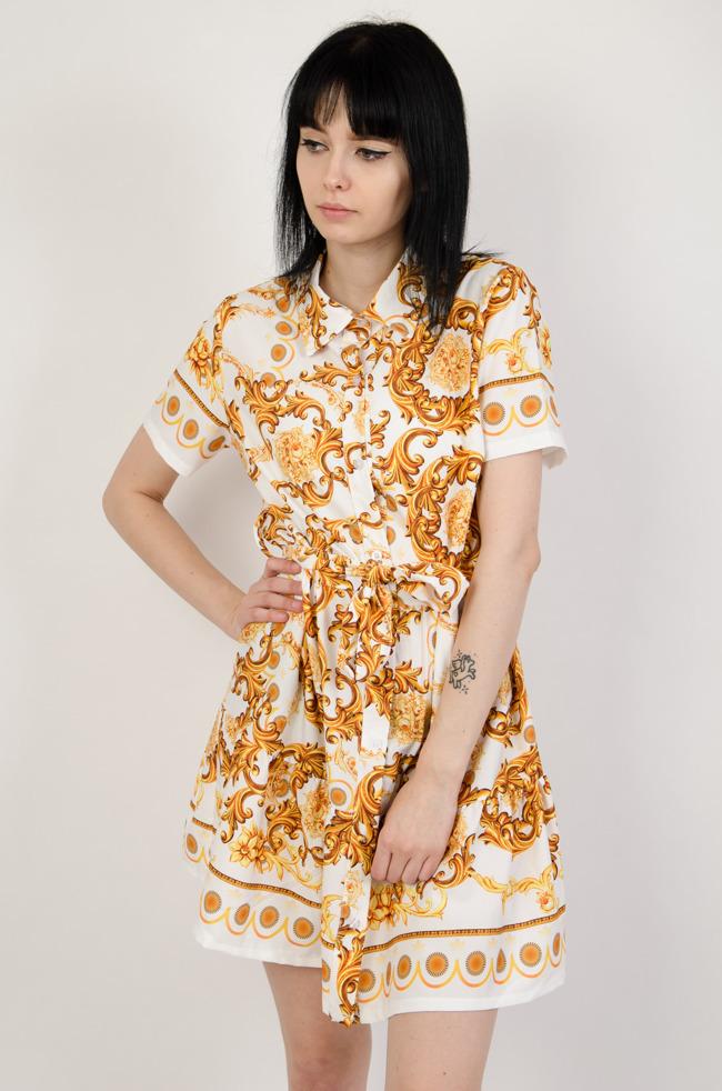 b0efc82752 Biała sukienka z kołnierzem w złote wzory