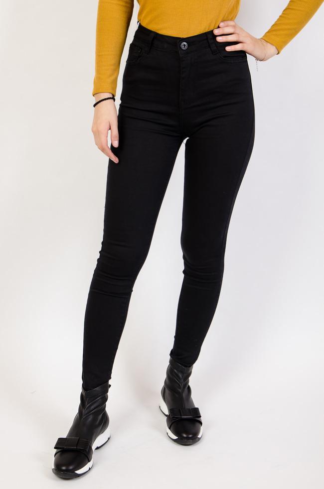 02dab99b Czarne spodnie damskie z wysokim stanem, z dziurami, rurki - Olika