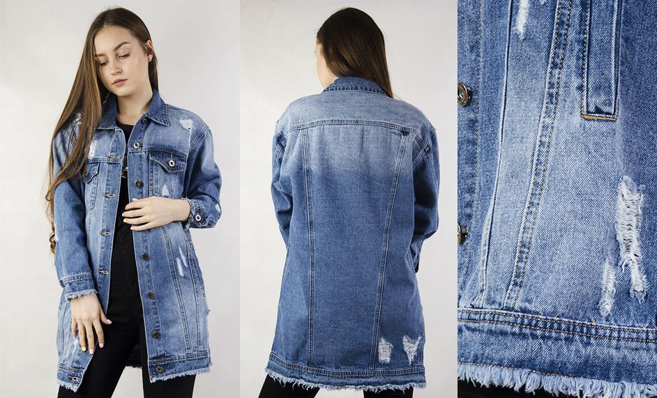4232c5fb93027 Krótka kurtka w kolorze ciemniejszego jeansu z dużymi przetarciami to  zdecydowanie propozycja dla osób, które chcą postawić na look z pazurem!