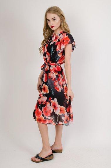ef2a980cdb Czarna sukienka w maki z plisowanym dołem