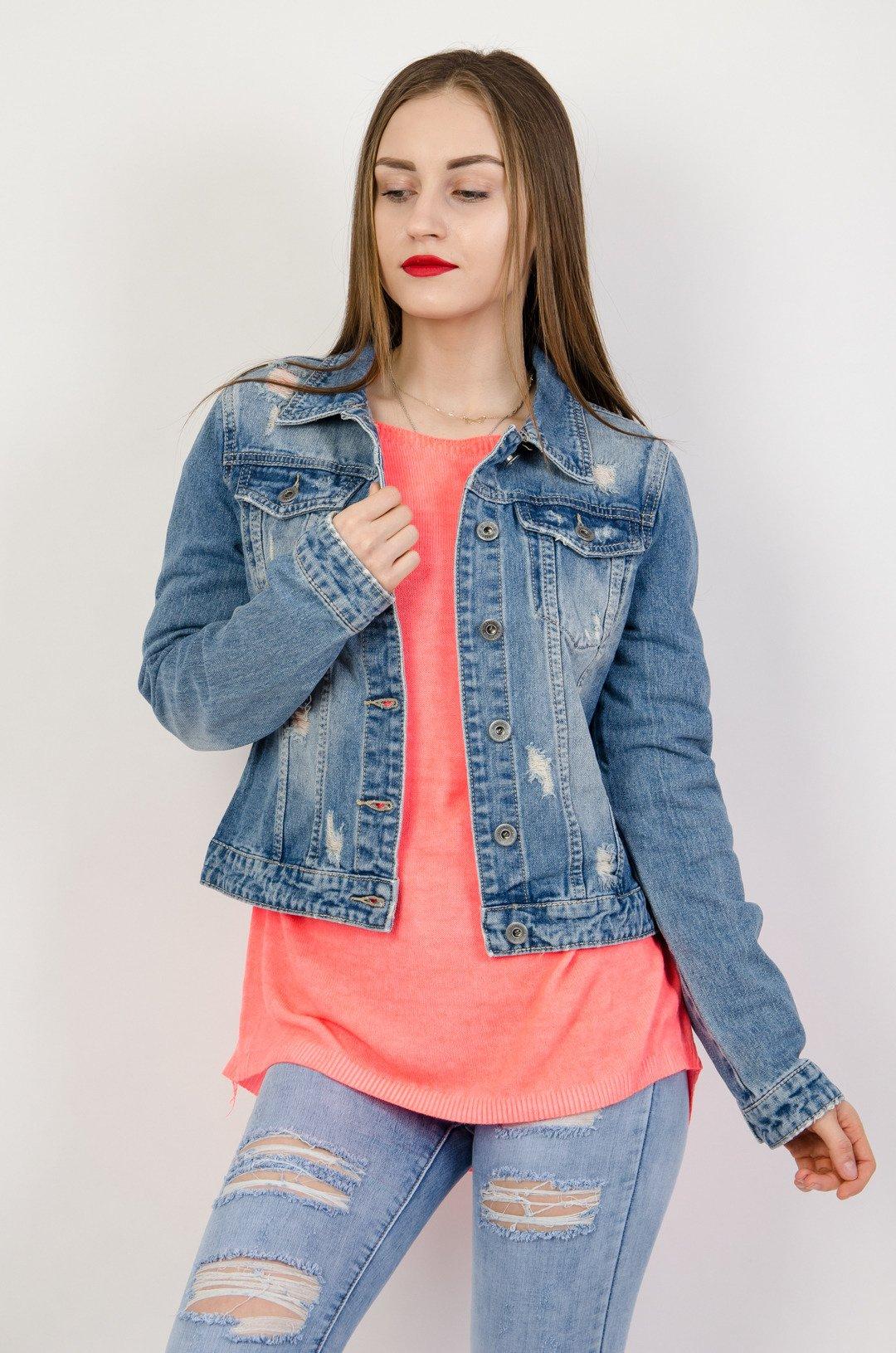 8481349febfb1 Kurtka jeansowa z jasnymi przetarciami | NOWOŚCI KOLEKCJA \ Kurtki i ...