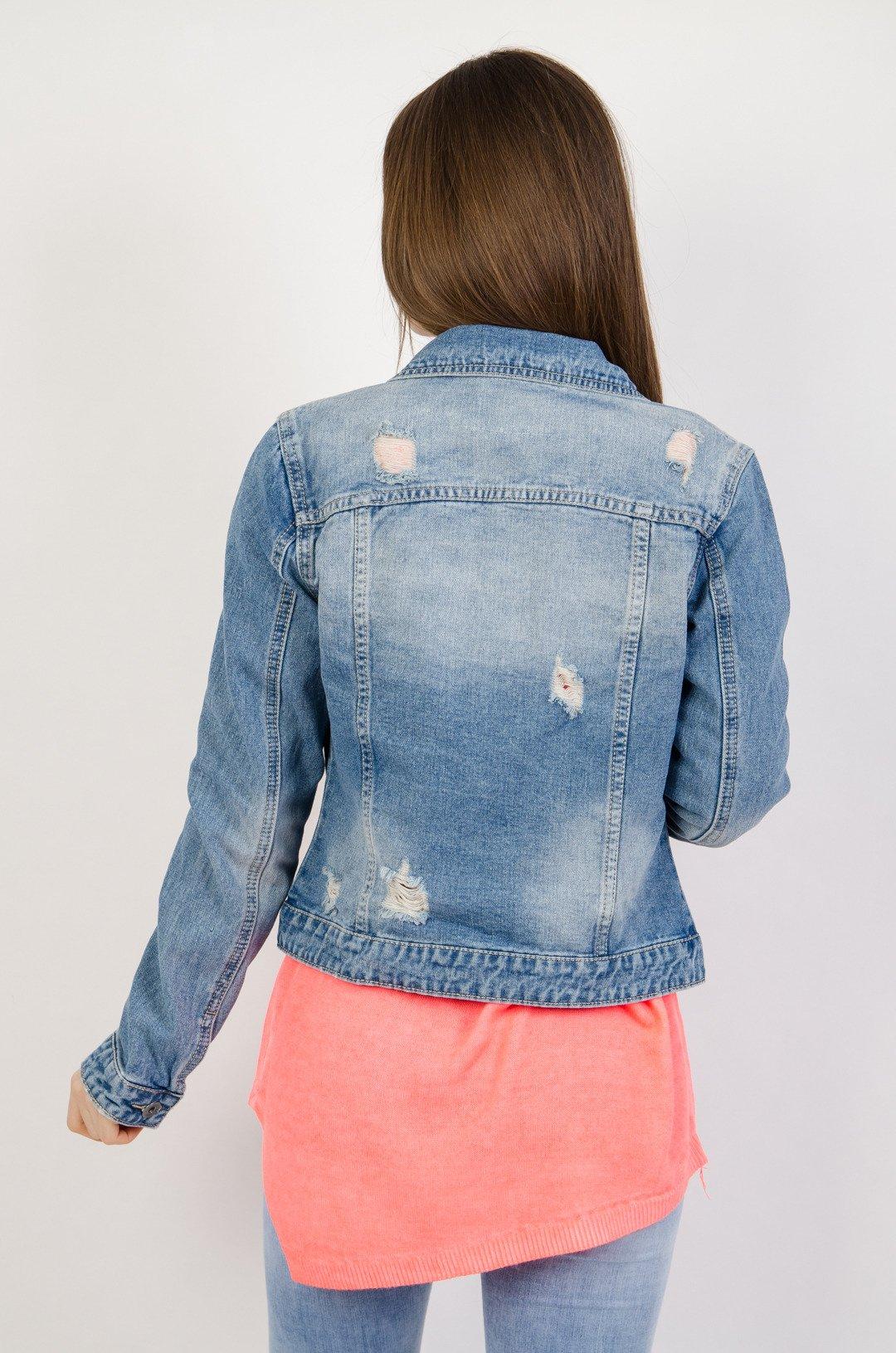 c75fa0a887419 Kurtka jeansowa z jasnymi przetarciami; Kurtka jeansowa z jasnymi  przetarciami ...