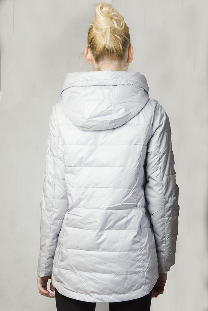 kurtka wiosenna asymetryczna siwa
