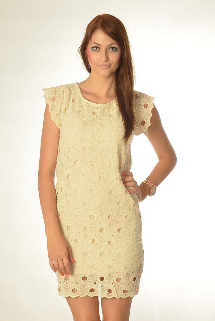 922fde296d Beżowa koronkowa sukienka na krótki rękaw ...