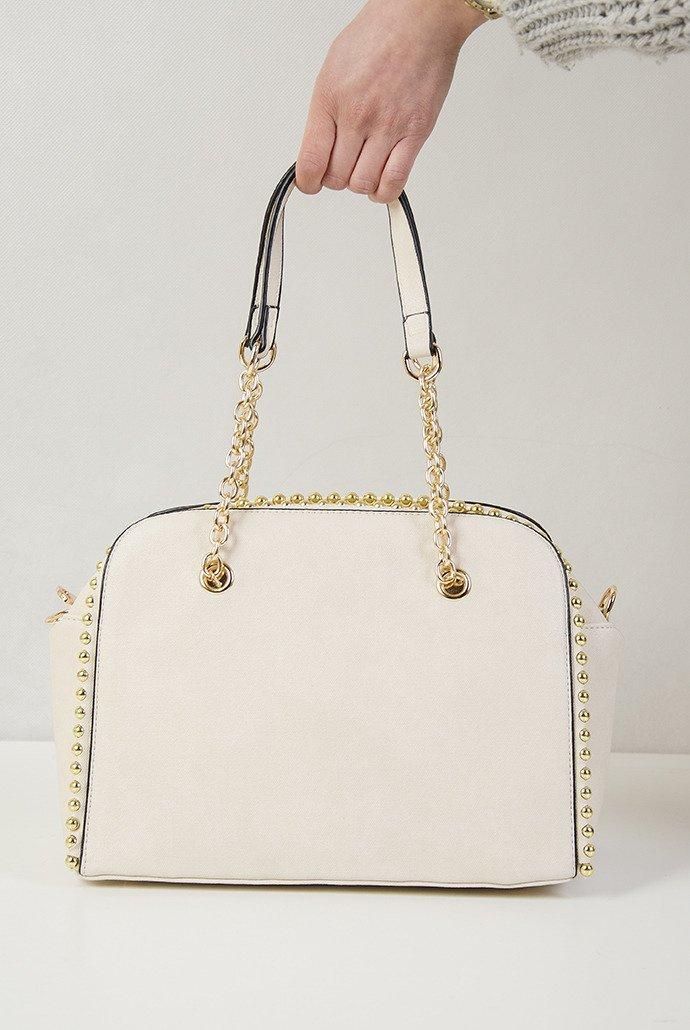 4c3050e2c539 Beżowa torebka typu kuferek ze złotymi ćwiekami Beżowy