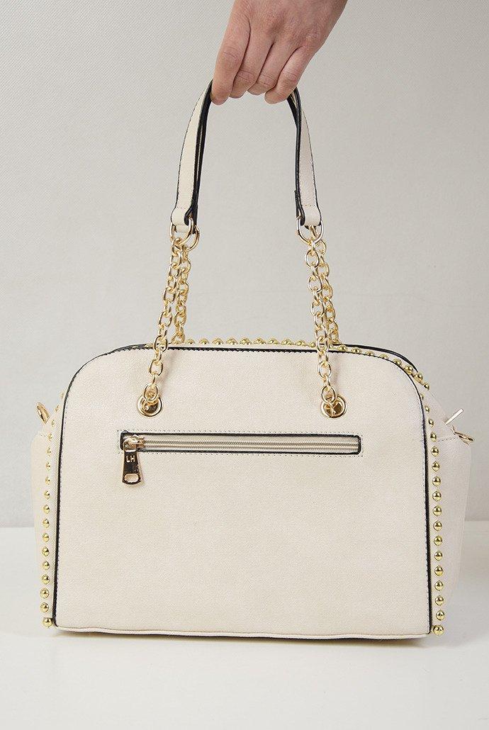 a87f7728bcb1c Beżowa torebka typu kuferek ze złotymi ćwiekami Beżowy