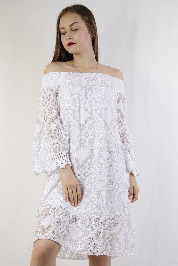 a836aaf909d Biała ażurowa sukienka z odkrytymi ramionami   NOWOŚCI KOLEKCJA \ Sukienki  KOLEKCJA \ Boho - Olika
