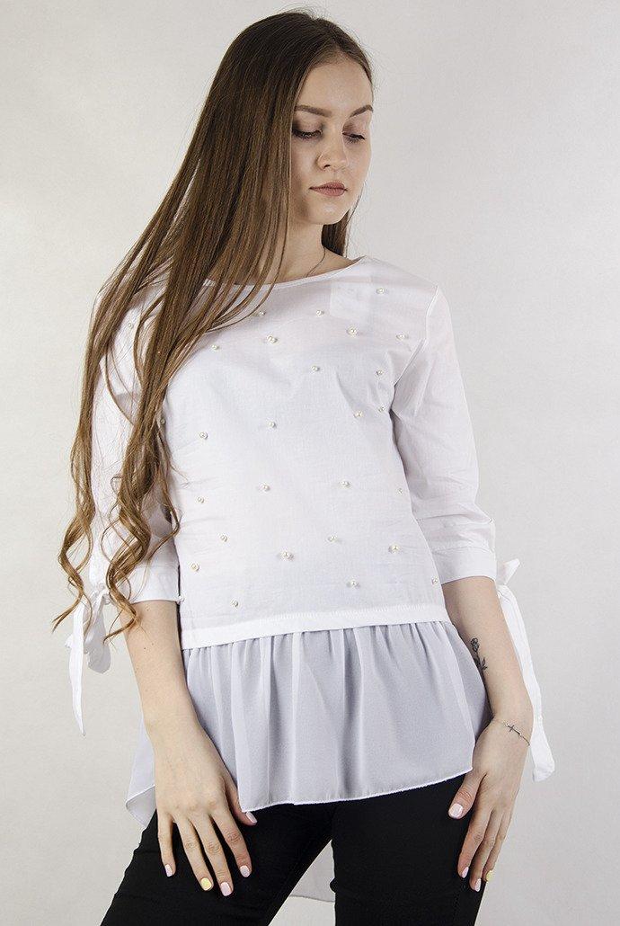 Biała bluzka koszulowa z przedłużeniem z tiulu | NOWOŚCI  AJSsW