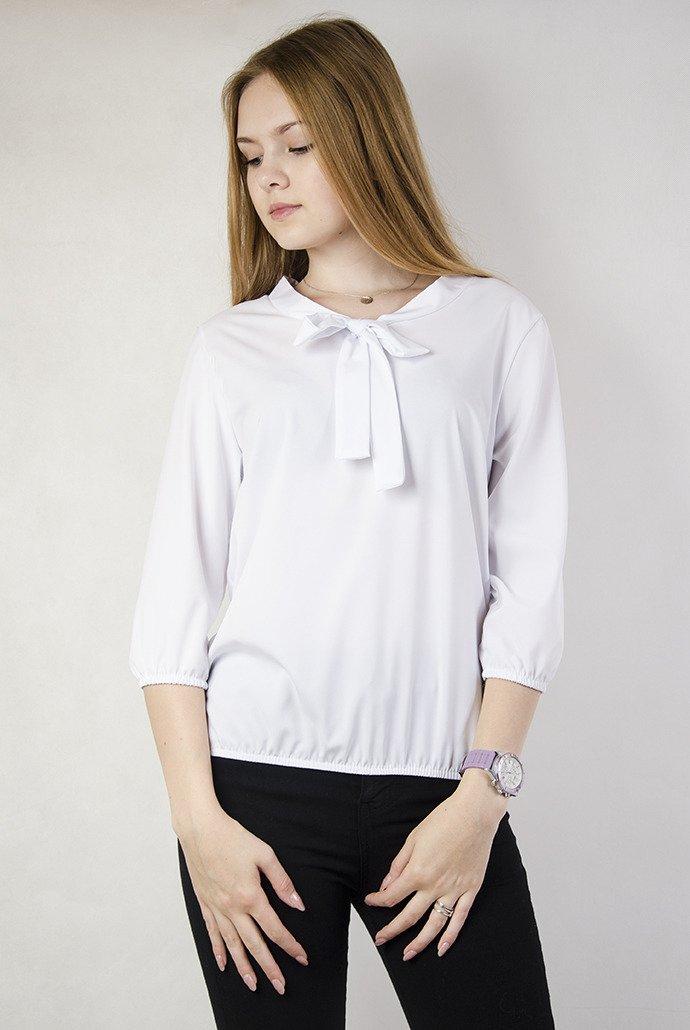 2a322aed707735 Biała bluzka z wiązaniem przy dekolcie biały   KOLEKCJA \ Bluzki ...