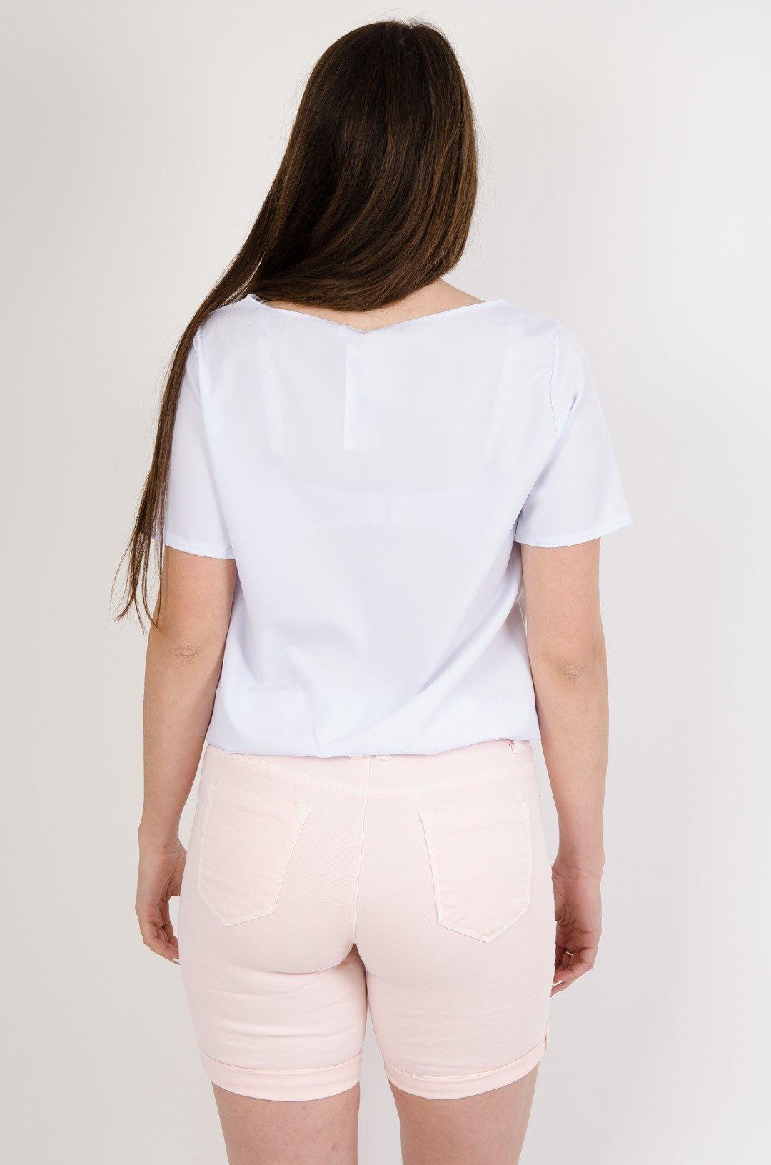 cb5219eaf741d4 Biała bluzka z zakładką oraz gumką na dole biały   NOWOŚCI KOLEKCJA ...