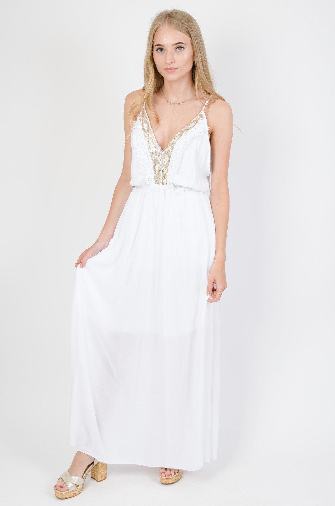 fa42ec09def Biała długa sukienka obszyta cekinami   NOWOŚCI KOLEKCJA \ Sukienki  KOLEKCJA \ Boho - Olika