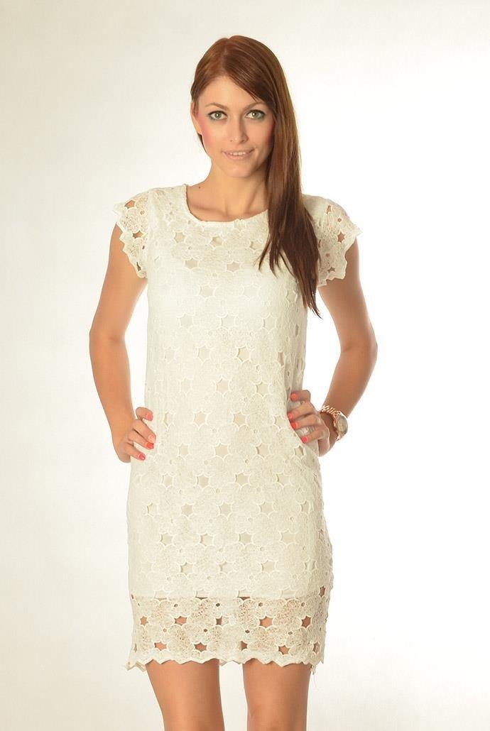 73ee0c7467 Biała koronkowa sukienka na krótki rękaw ...