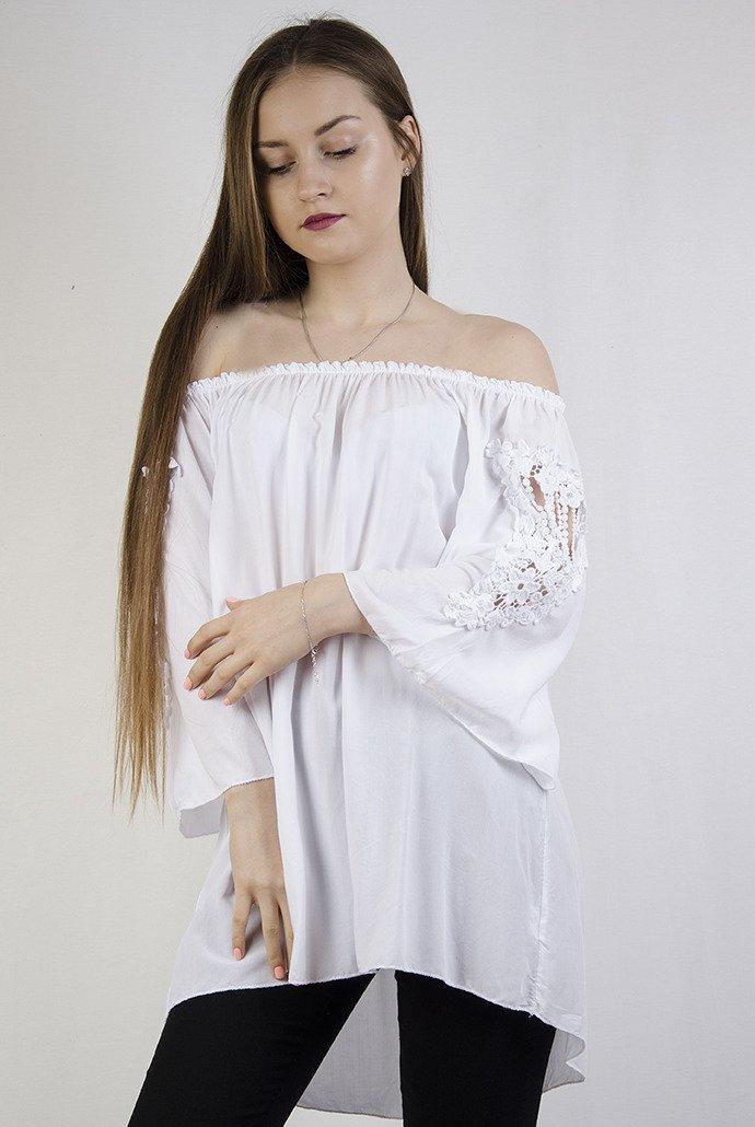 04116736026475 Biała, prosta hiszpanka z ażurową wstawką biały   KOLEKCJA \ Bluzki ...