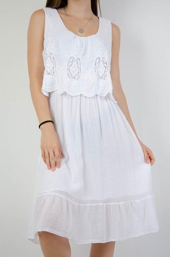 ef3e4312f2 ... Biała sukienka z ażurowym crop topem ...
