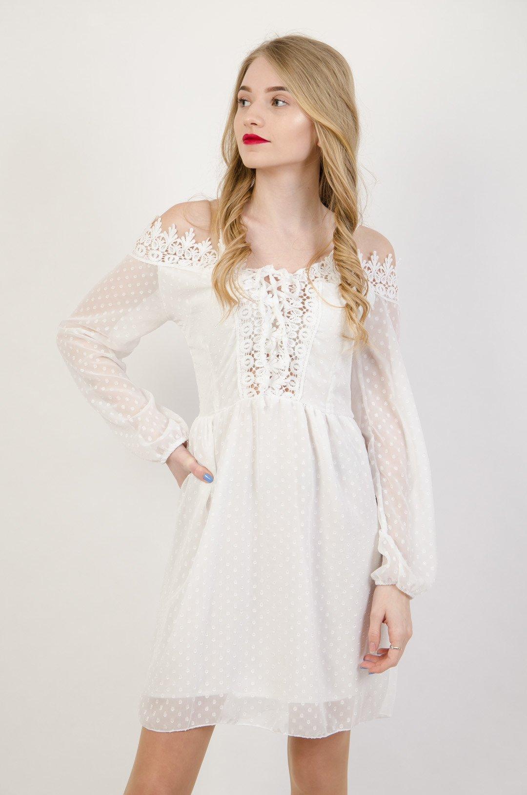 cd3b2532293bf1 Biała szyfonowa sukienka z odkrytymi ramionami | NOWOŚCI KOLEKCJA ...