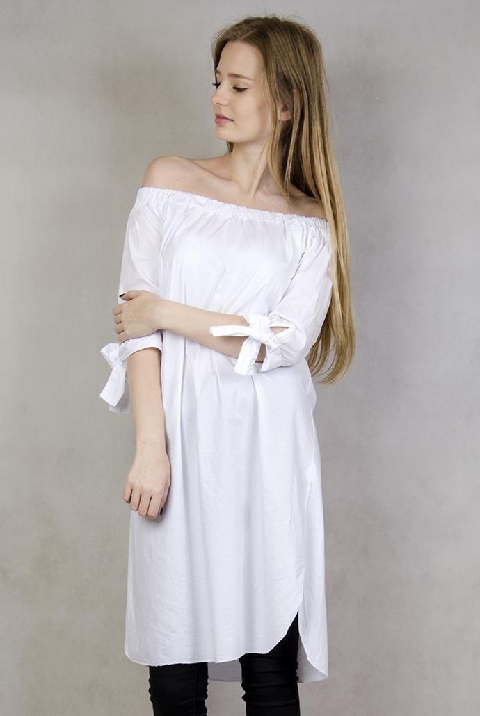 0b168f05bc6771 Biała tunika z hiszpańskim dekoltem ...