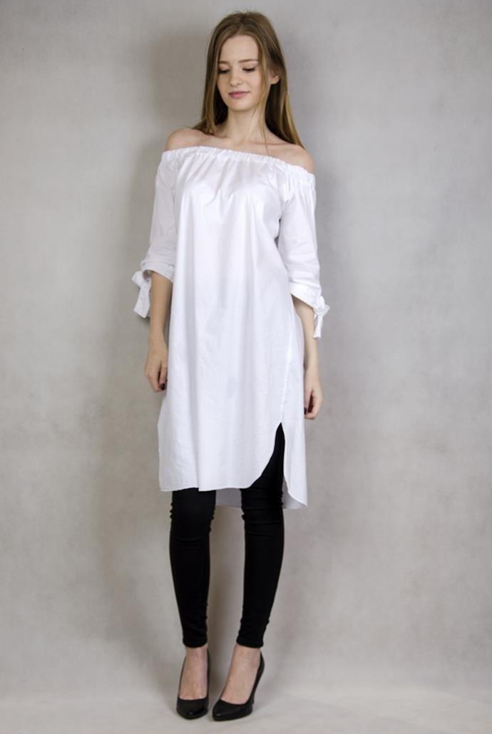 404c0fe1eb62be ... Biała tunika z hiszpańskim dekoltem