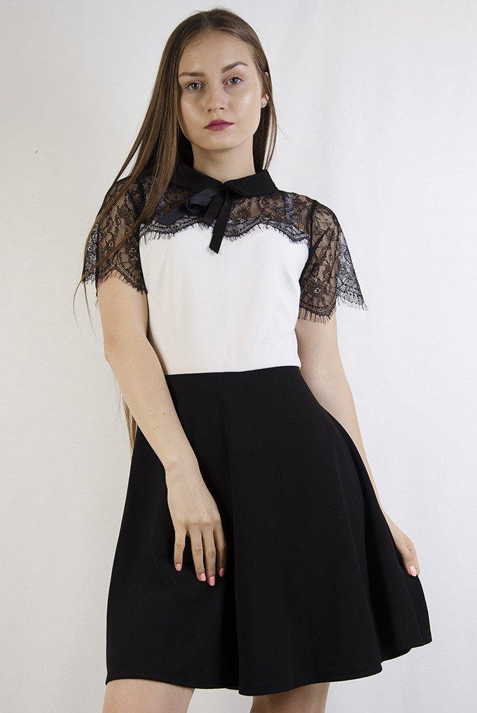 604efb64d9 Biało czarna rozkloszowana sukienka z kołnierzem ...