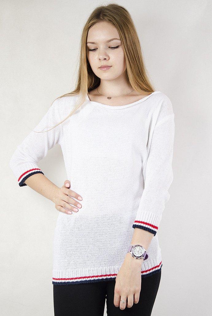 b81c5cefa3fa Biały sweterek z wiązaniem z tyłu biały