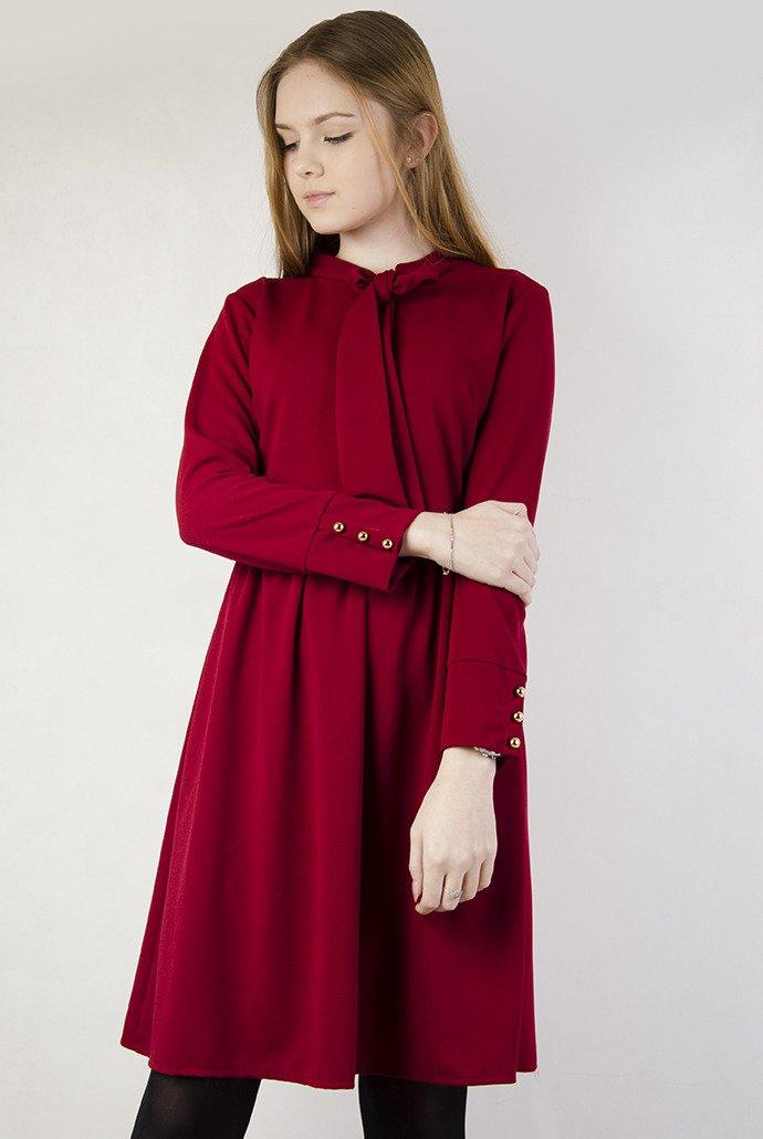 5bc269ebed Bordowa sukienka z kokardą pod szyją Bordowy