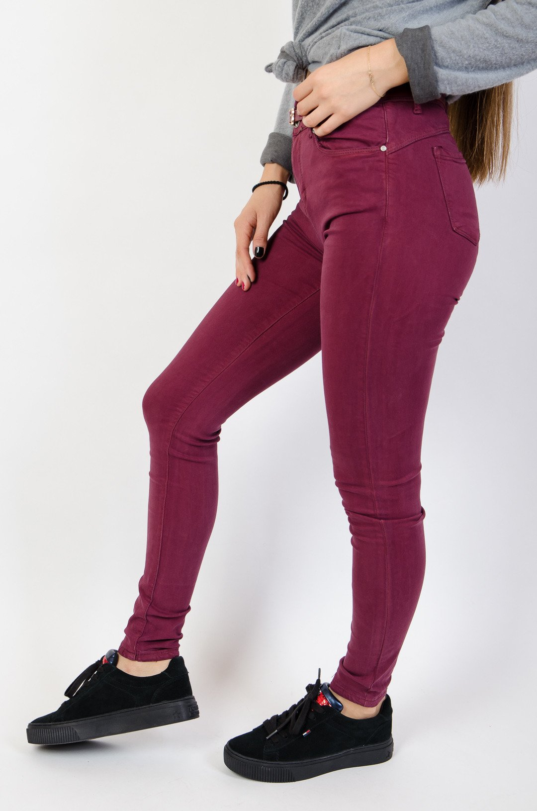9be3cc8ad55a Bordowe spodnie skinny z wysokim stanem + pasek Bordowy