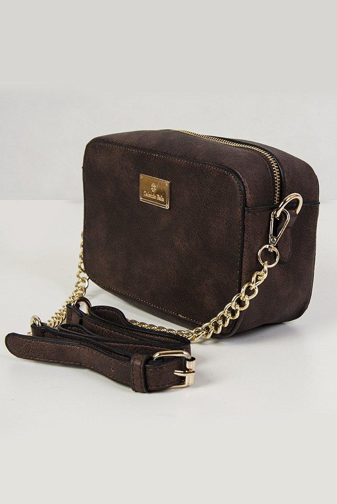 424c4f683791d Brązowa usztywniana torebka na łańcuszku Brązowy