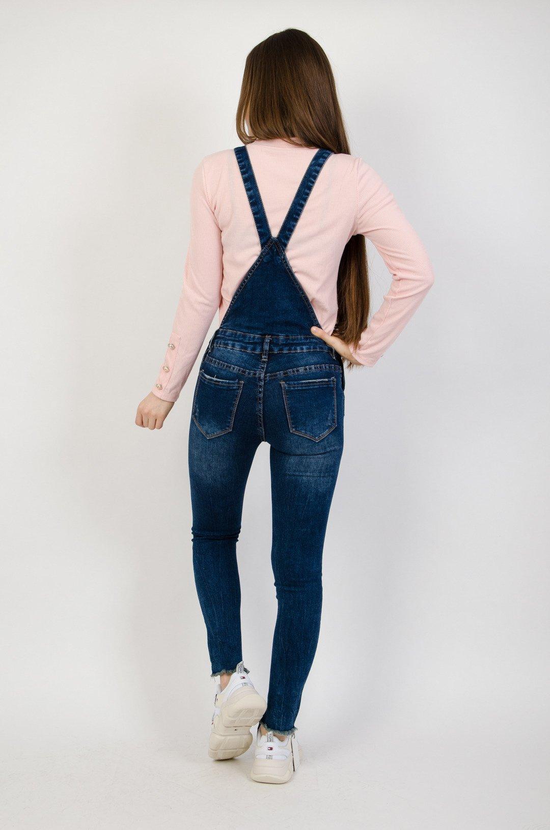 fd3a082f939d08 Ciemne jeansowe ogrodniczki z szarpaniem na dole nogawki   NOWOŚCI ...