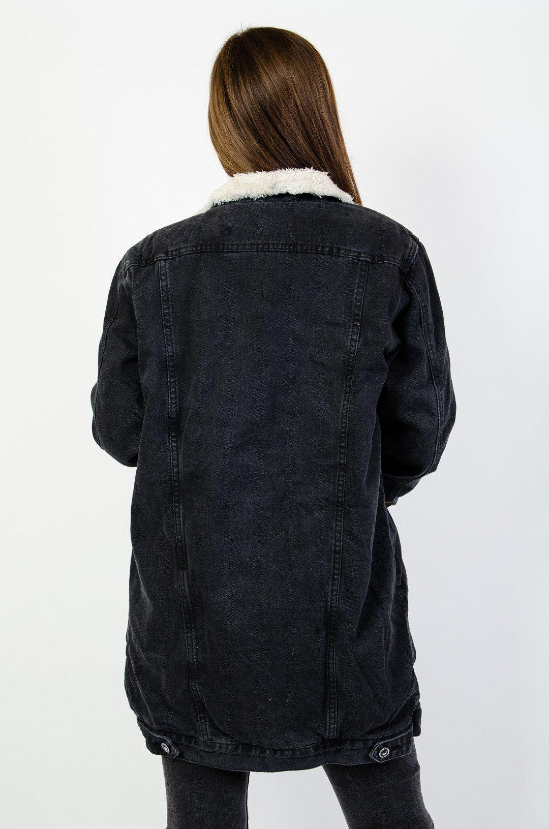 kurtka jeansowa ocieplana damska czarna