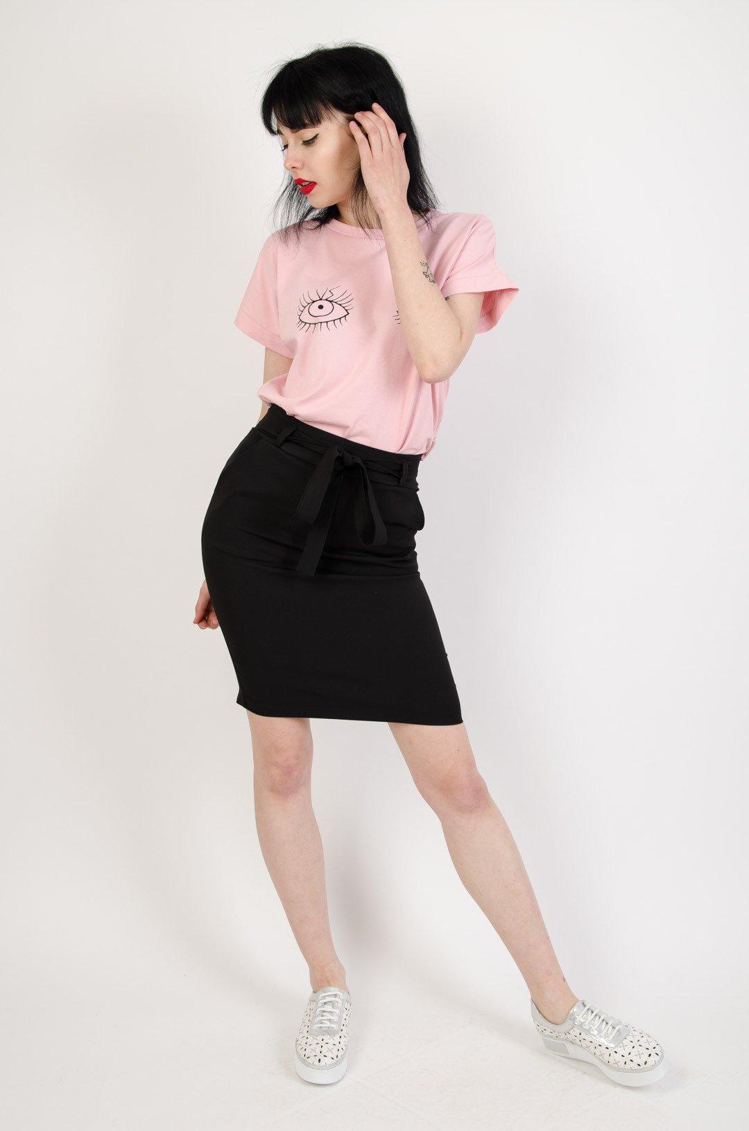 Wspaniały Czarna ołówkowa spódnica z kieszeniami oraz wiązaniem | NOWOŚCI HO39