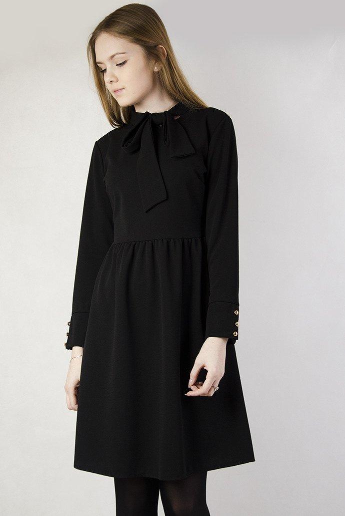 c92d8647de Czarna sukienka z kokardą pod szyją czarny