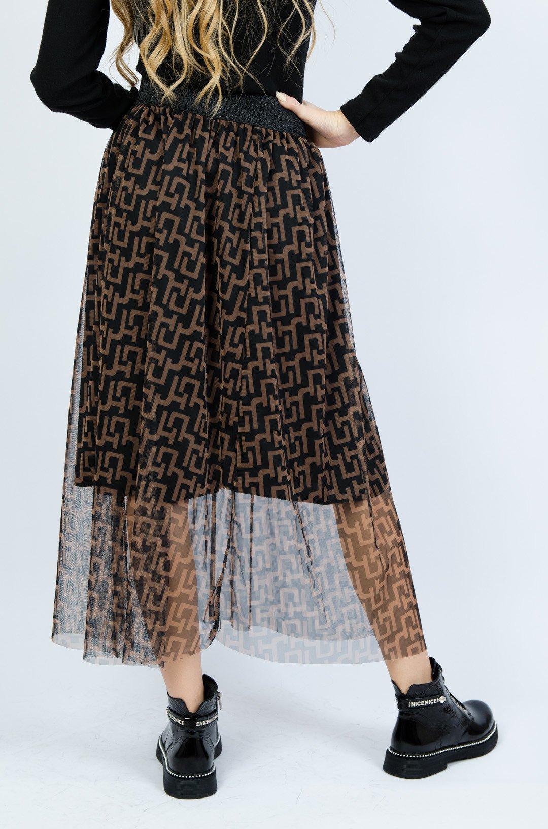 Czarna warstwowa spódnica z tiulu w brązowe wzory