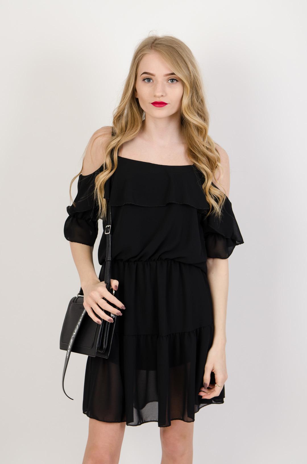 b64780c3d136c3 Czarna zwiewna sukienka z odkrytymi ramionami | NOWOŚCI KOLEKCJA ...
