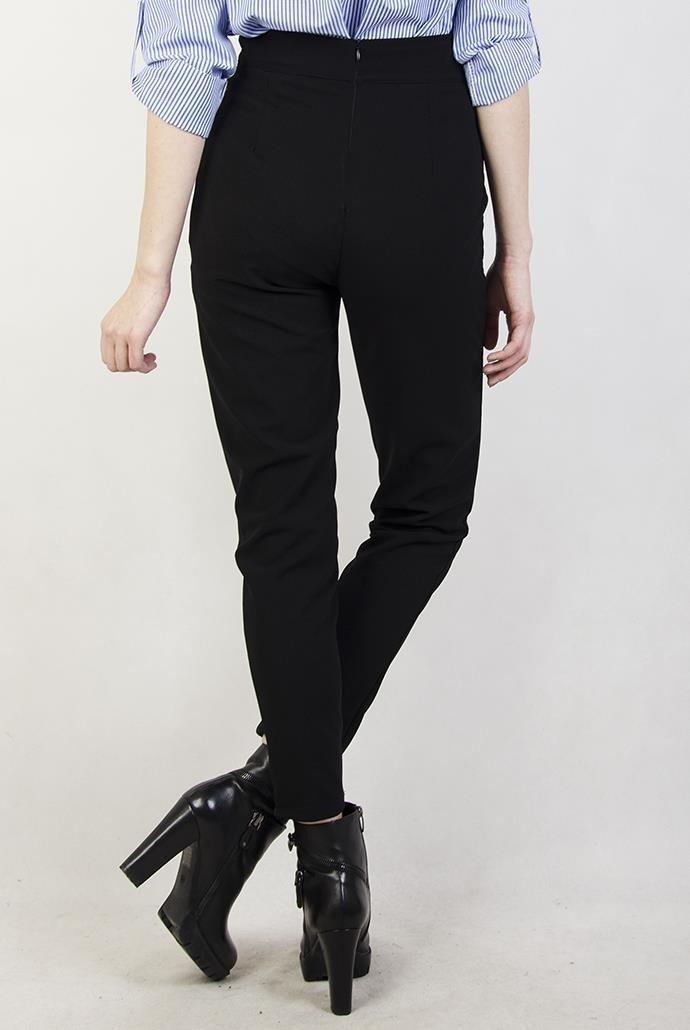 czarne spodnie luzne z wysokim stanem materialowe