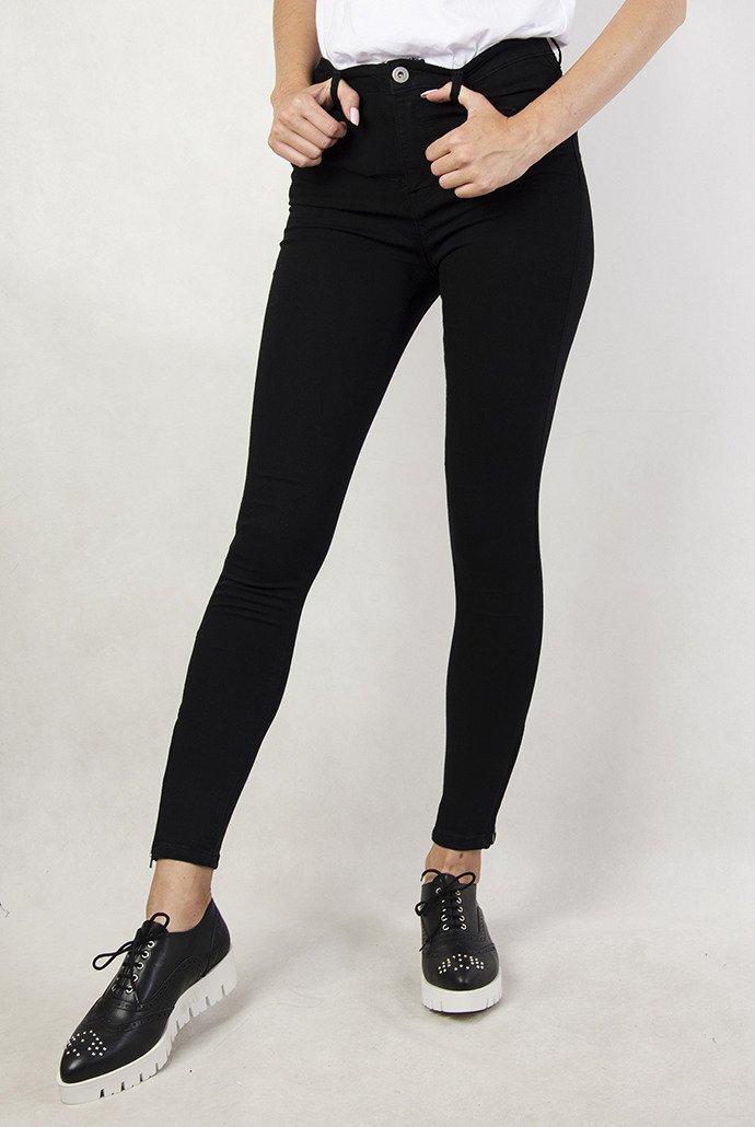 d900325c Czarne spodnie skinny z zamkami przy nogawce