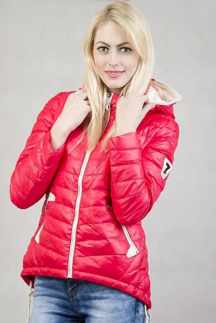 Kurtka pikowana futerko CMK697 czerwona modne kurtki zimowe