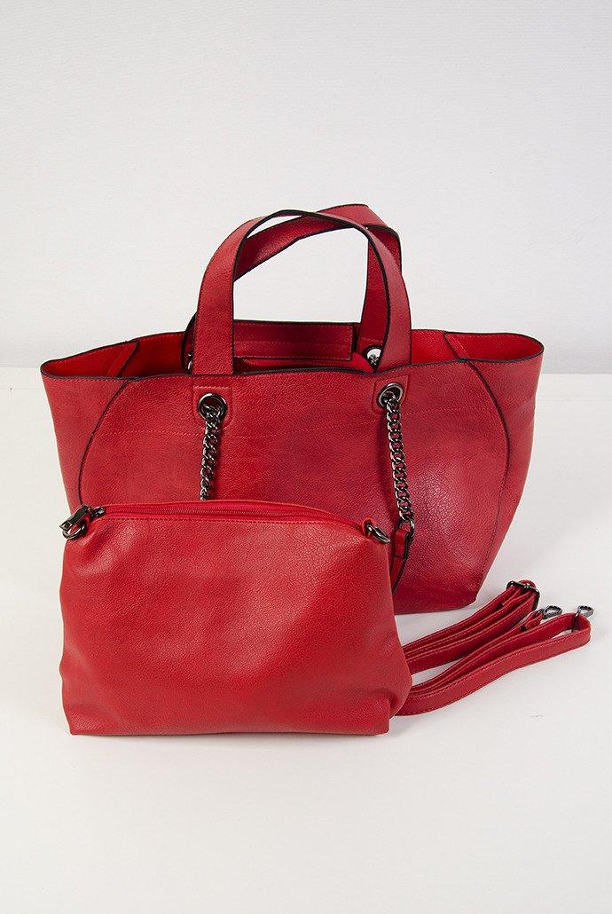 5de23dcc58b0b Czerwona torebka typu shopper 2w1 Czerwony