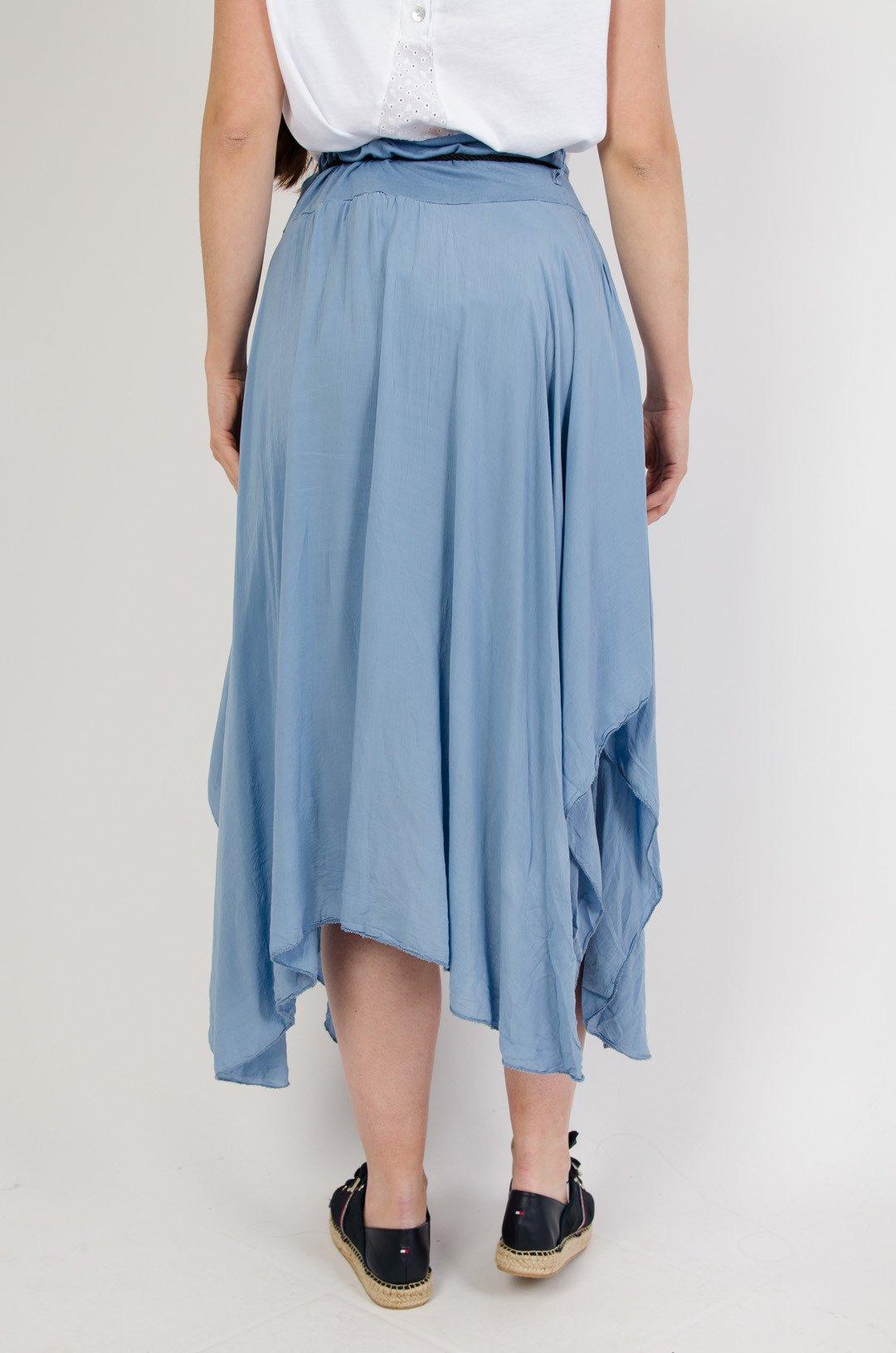 5b84acc868 Długa asymetryczna spódnica z wycięciem+ pasek niebieski