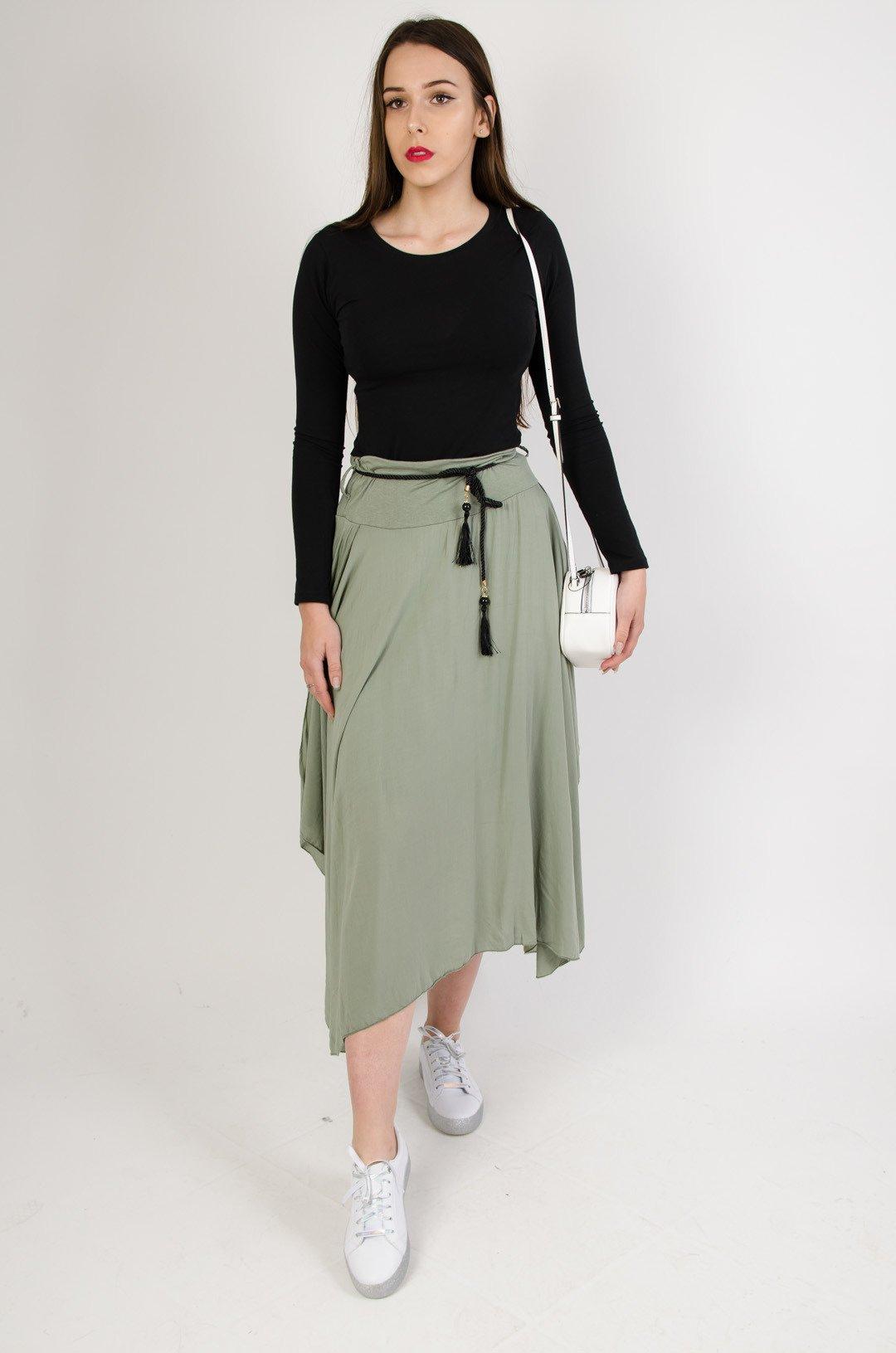 8efe205bd5 Długa asymetryczna spódnica z wycięciem+ pasek zielony