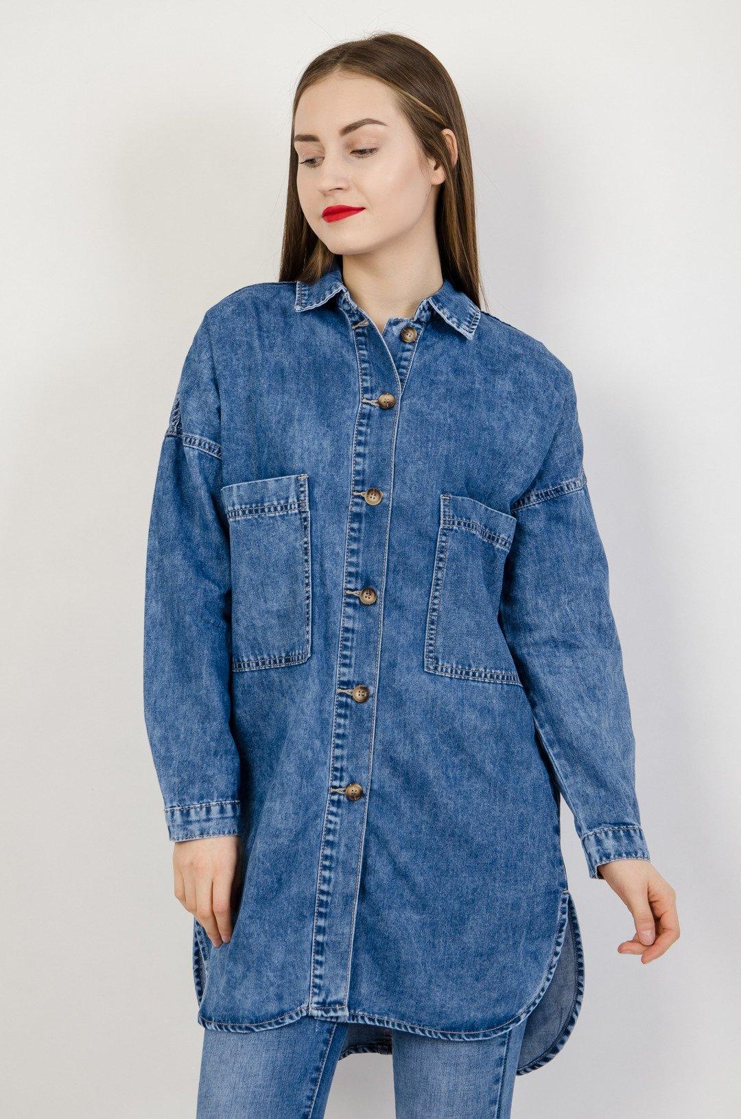 Długa koszula jeansowa z rozcięciami po bokach | NOWOŚCI  90nEv