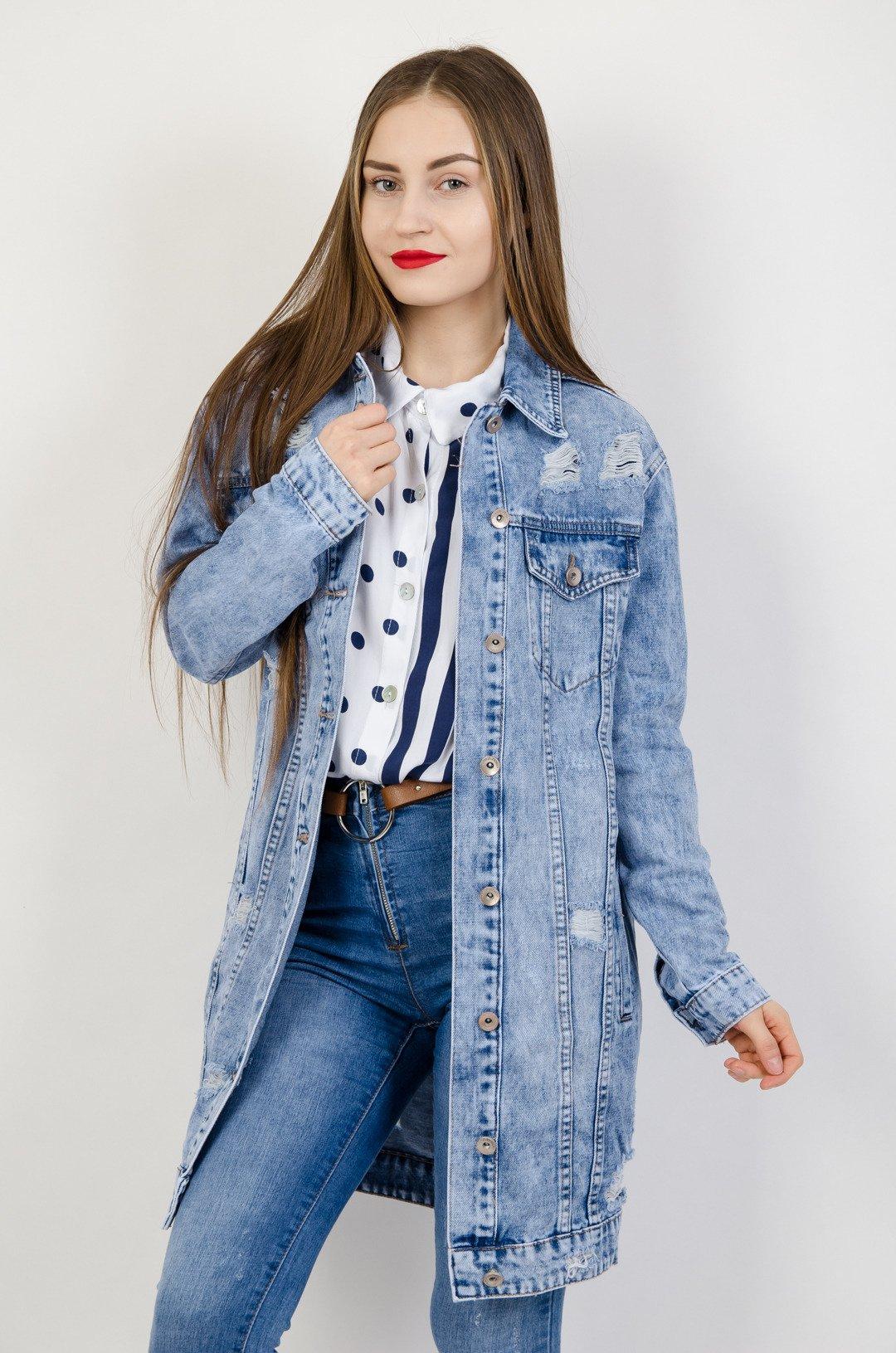 3000230f1c86 Długa kurtka jeansowa z przetarciami ...