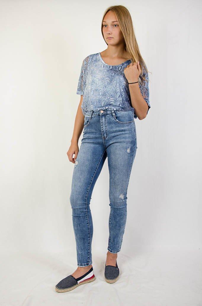 Duże rozmiary (L XXXXL) Spodnie jeansowe jasne
