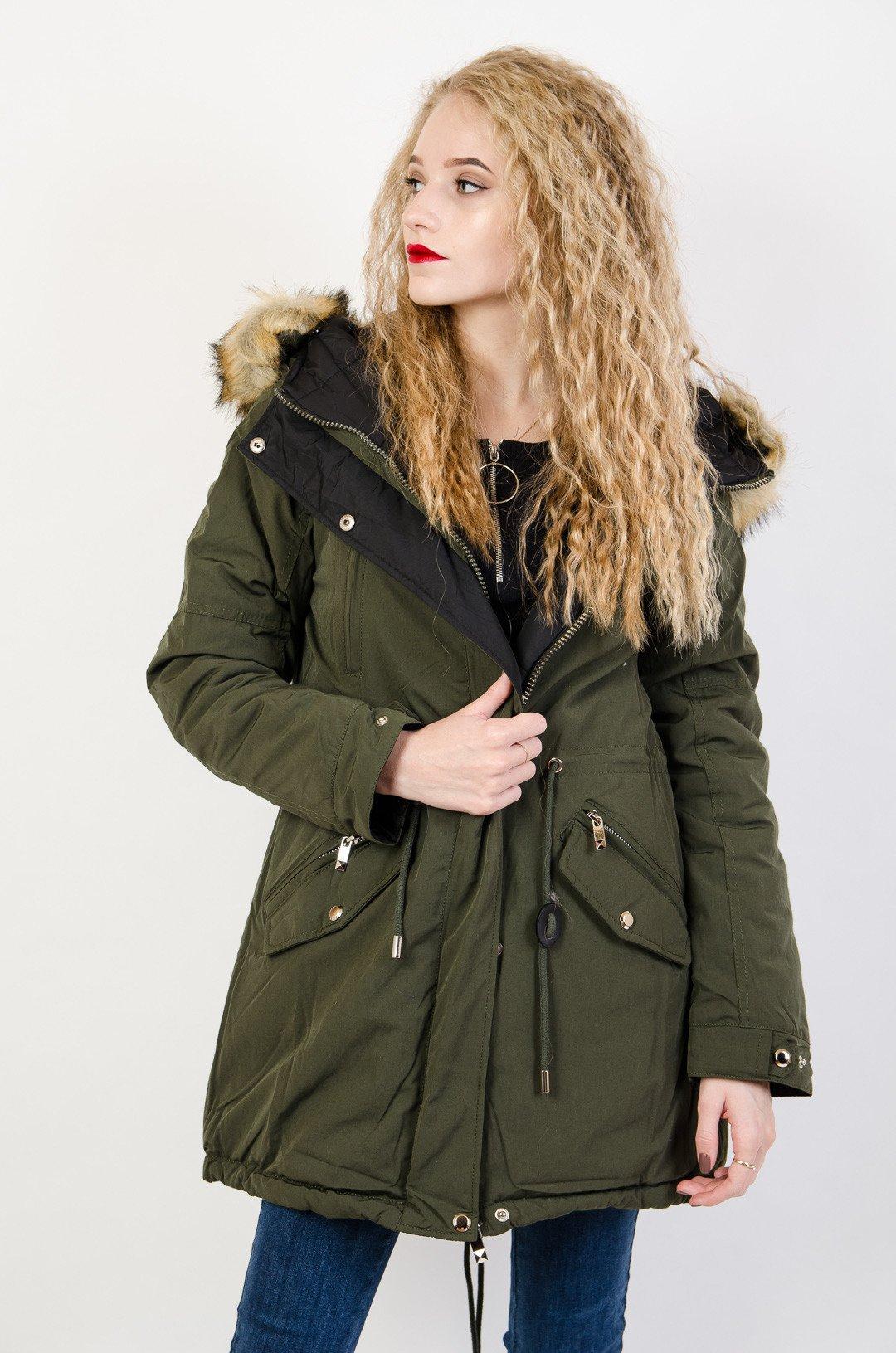 Dwustronna kurtka w kolorze zielono czarnym