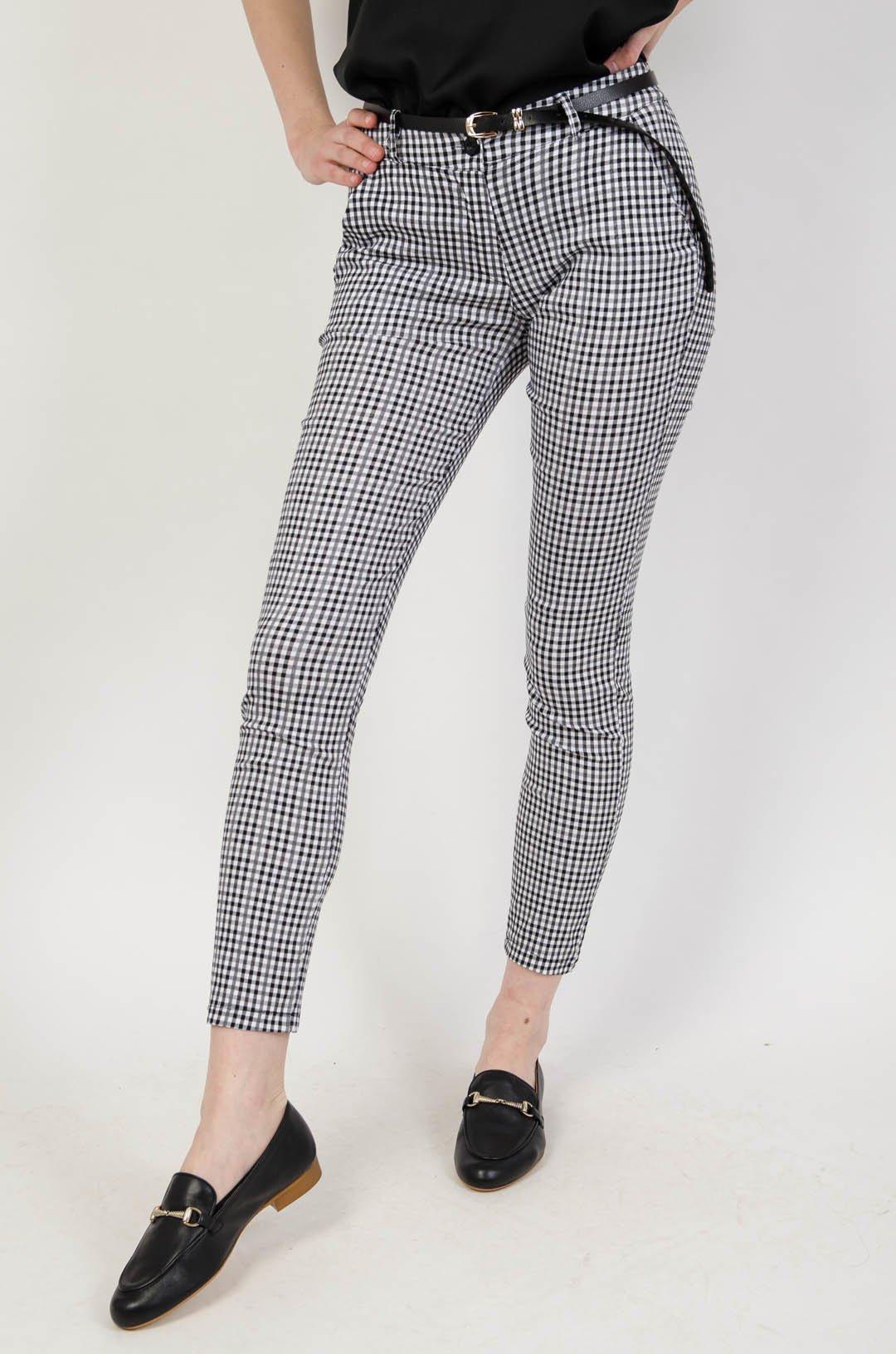 Eleganckie spodnie w pepitkę + pasek