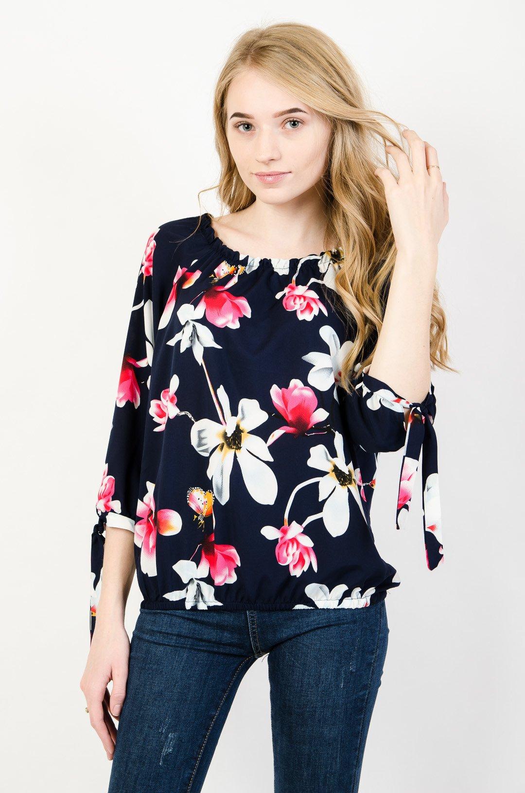 b4d2caa80fd317 Granatowa bluzka w biało różowe kwiaty | NOWOŚCI KOLEKCJA \ Bluzki ...