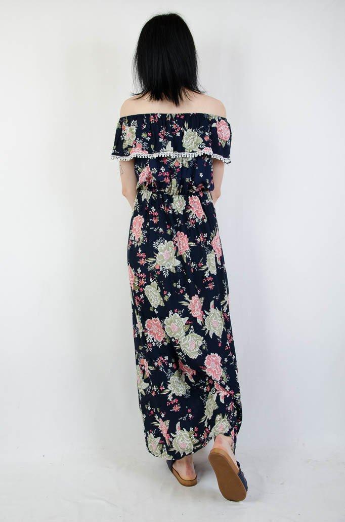 1b9d988499 Granatowa długa sukienka hiszpanka w kwiatowy wzór granatowy ...