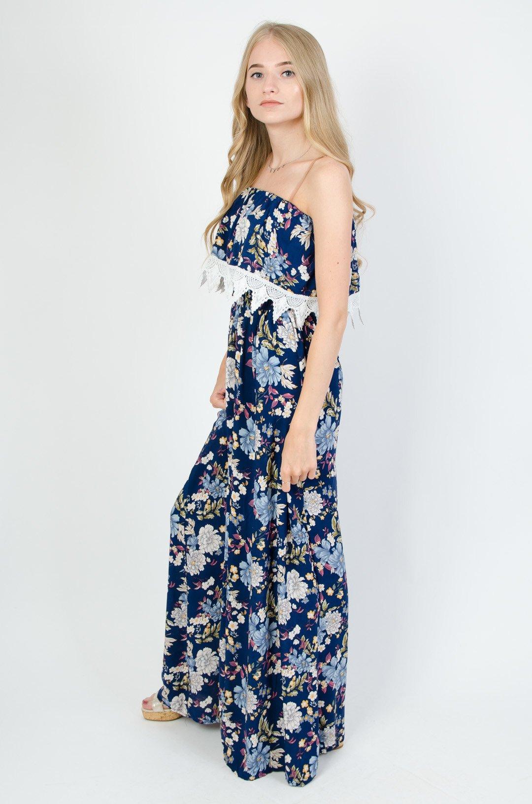 7ac8661c Granatowa sukienka hiszpanka w kwiaty
